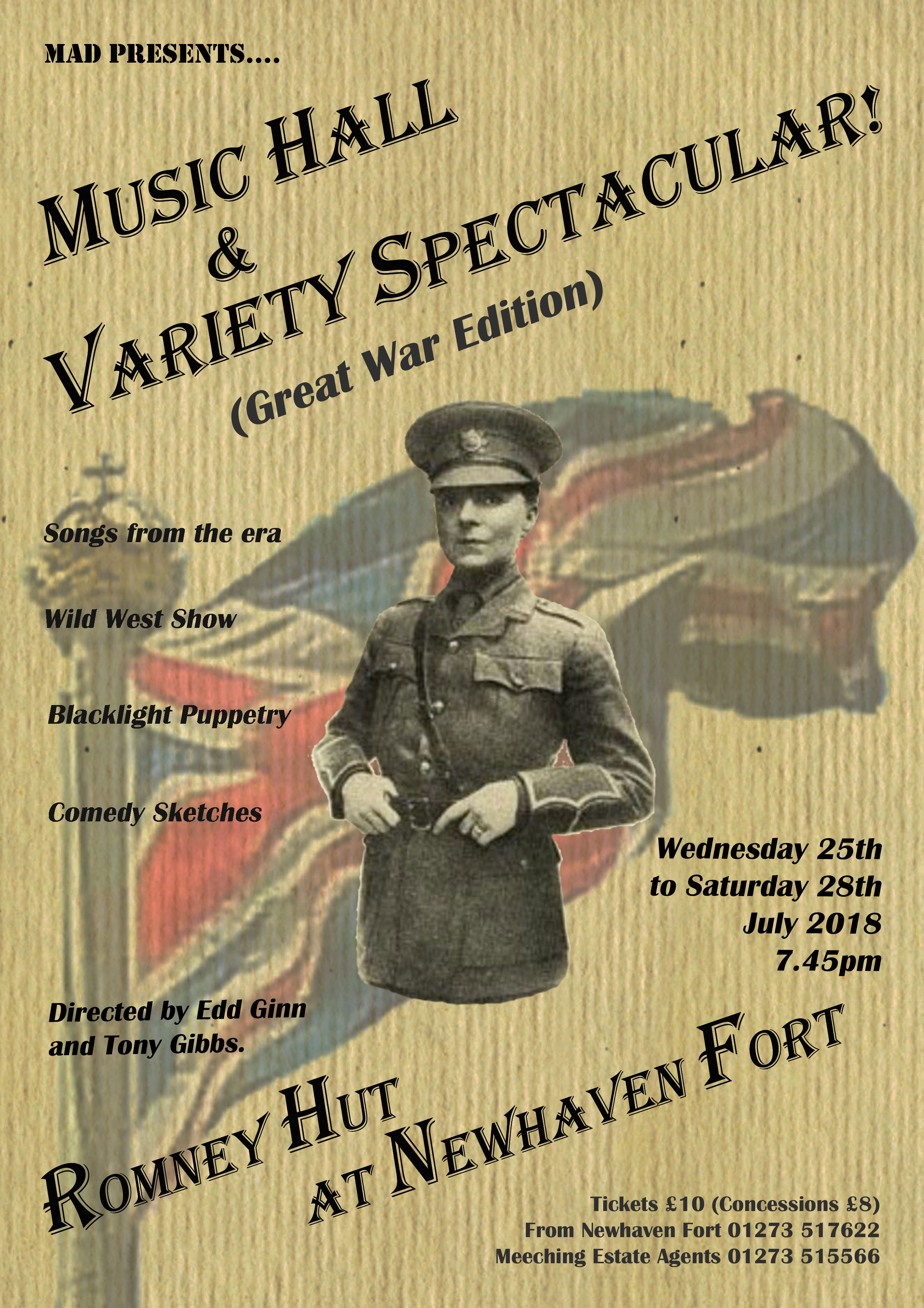 Meeching Amateur Dramatics – Music Hall & Variety Spectacular (Great War Edition) Wednesday 25th – Saturday 28th July